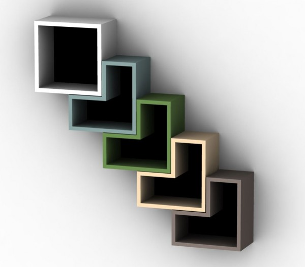 Solovyoc Designs- Pinta book shelves diagonal