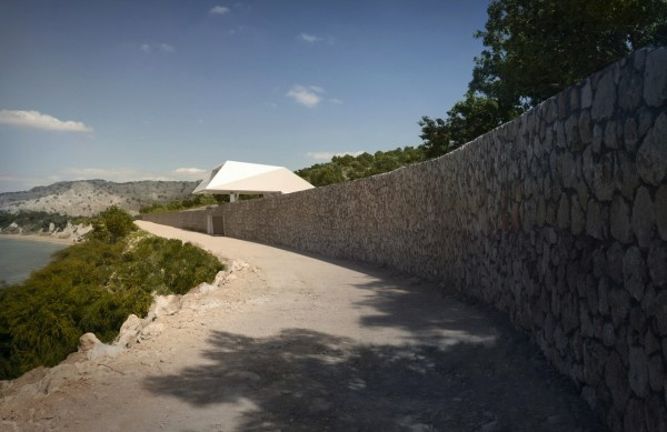 Stone wall Modern Holiday House Greece view