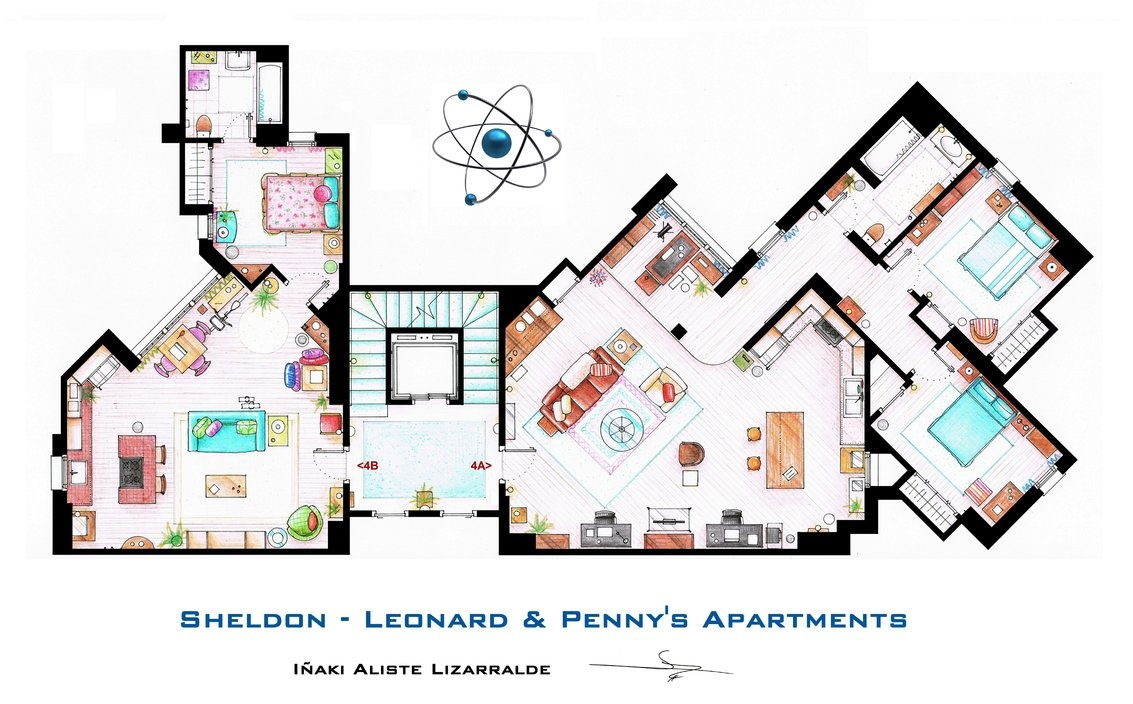The big bang theory sheldon leonard and penny s for Floor plans of famous houses