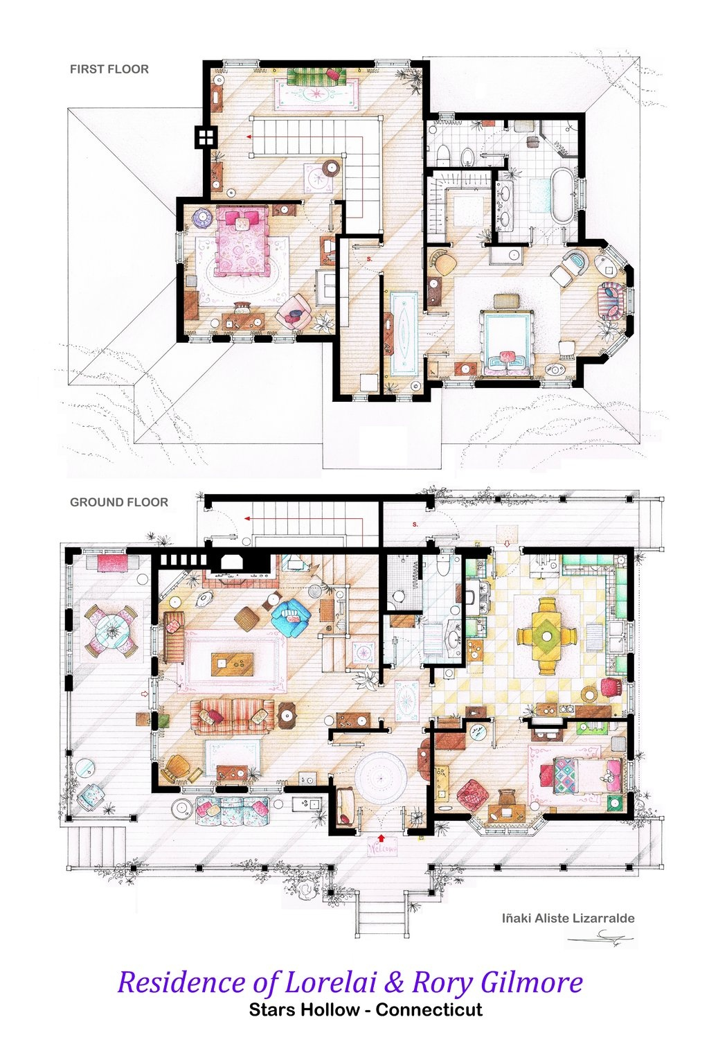 Floor plans of homes from famous TV showsThe Gilmore Girls House  These floorplans