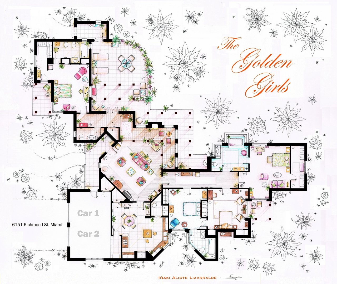 Floor plans of homes from famous TV showsThe Golden Girls House