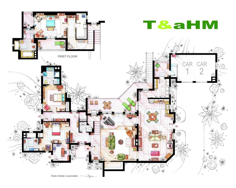 Two and a half men floor plans interior design ideas for Two floor house plans