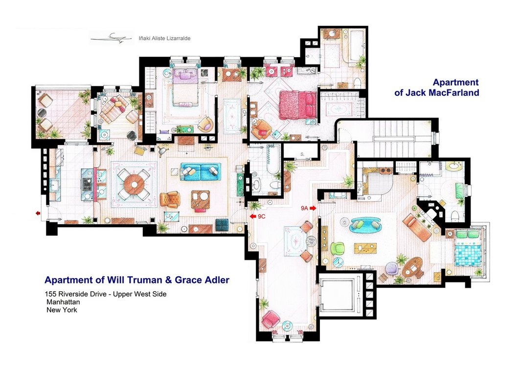 Floor plans of homes from famous TV showsWill And Grace Apartment