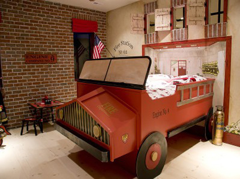 Antique fire truck themed red boys room interior design for Fire truck bedroom ideas