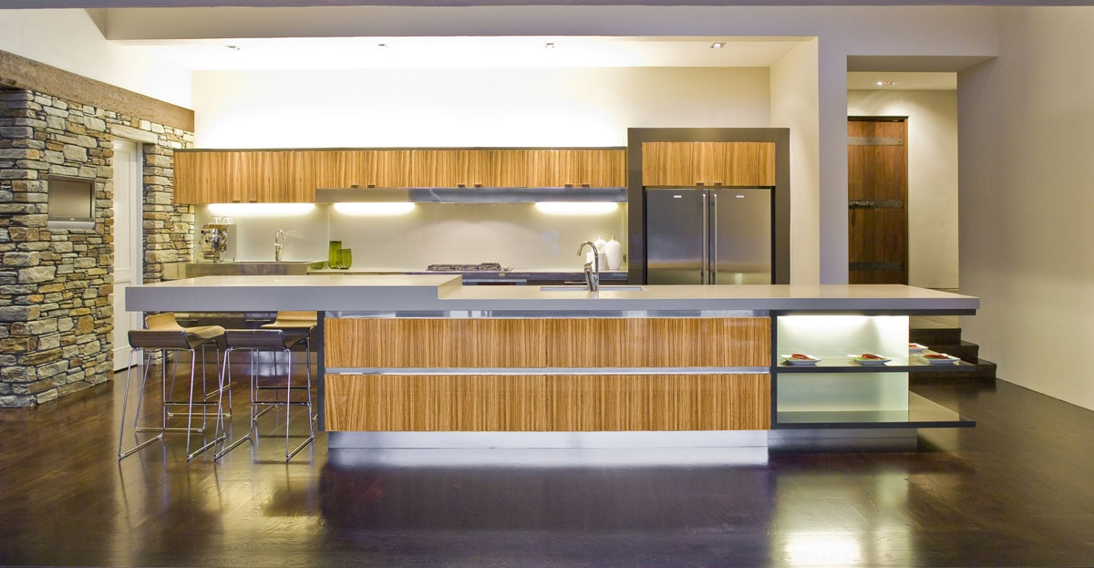 bamboo accented modern kitchen | Interior Design Ideas.