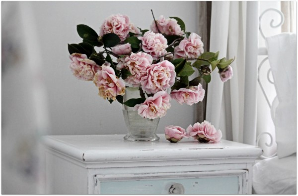bedside table floral arrangement pink and white