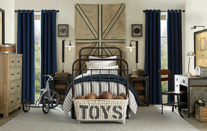 blue and natural antique boys room union jack