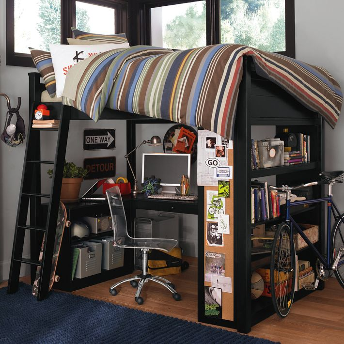 Boys room bunk bed with workspace and bike interior for Boys loft bedroom ideas