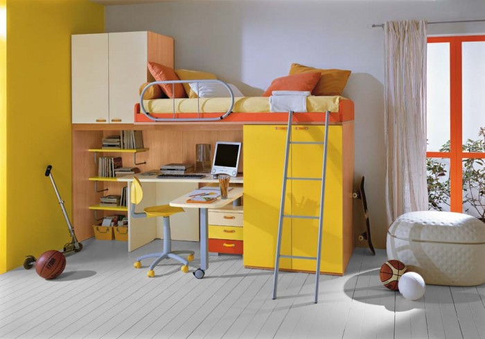 boys room bunk bed with workspace orange and yellow