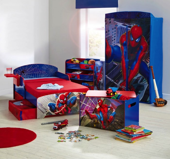 boys room spiderman theme bed and cupboard