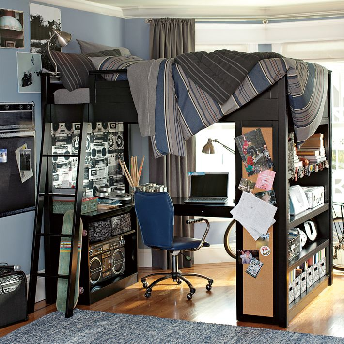 Bunk bed with workspace boys room interior design ideas for Boys loft bedroom ideas