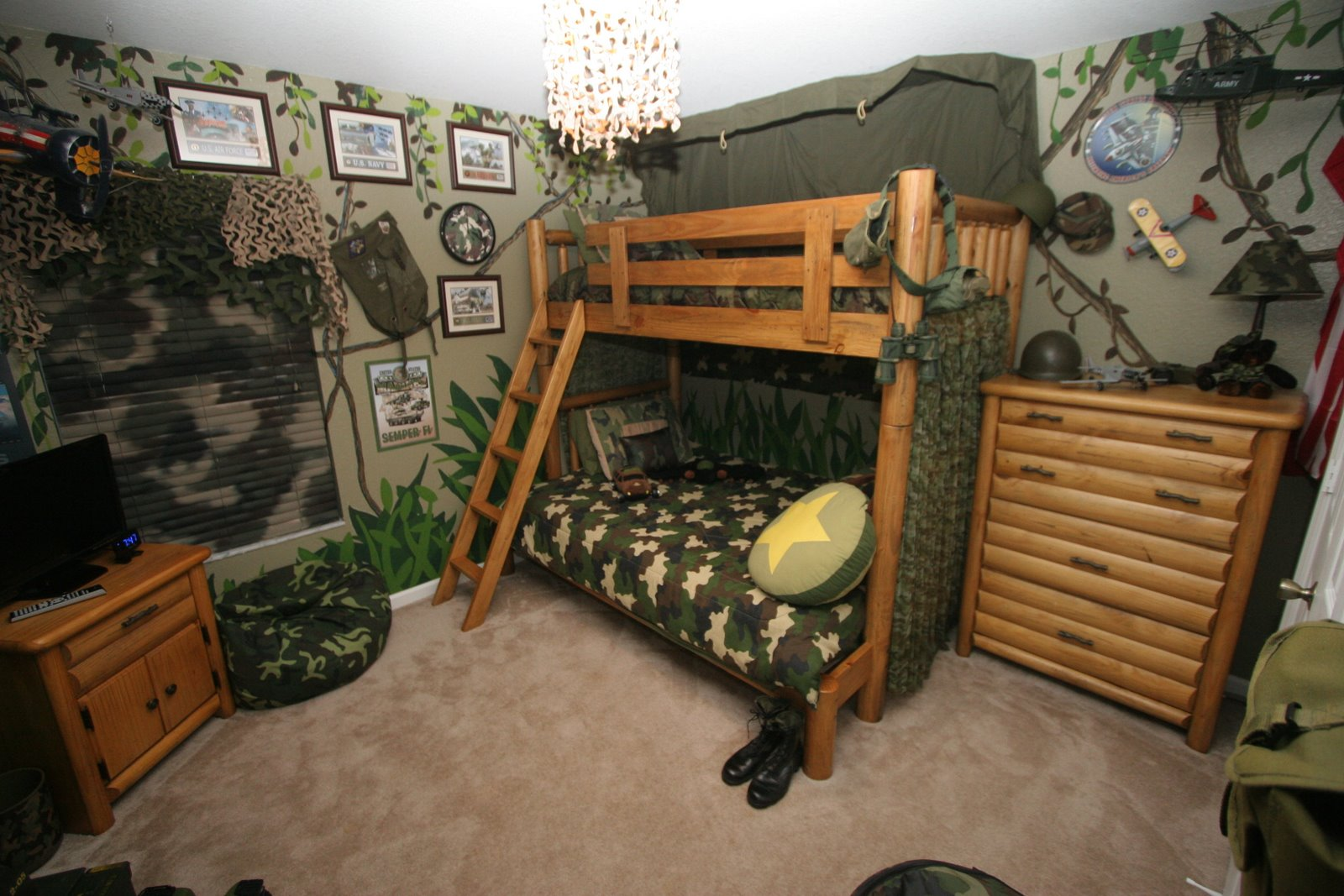 camouflage boys room with bunk beds interior design ideas