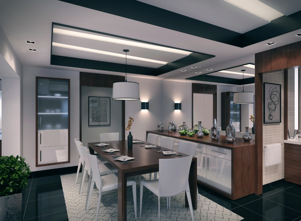 Three modern apartments a trio of stunning spaces for Dining room design contemporary