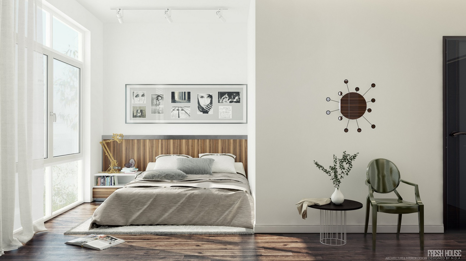 Chic contemporary spaces rendered by anh nguyen for Bedroom designs white
