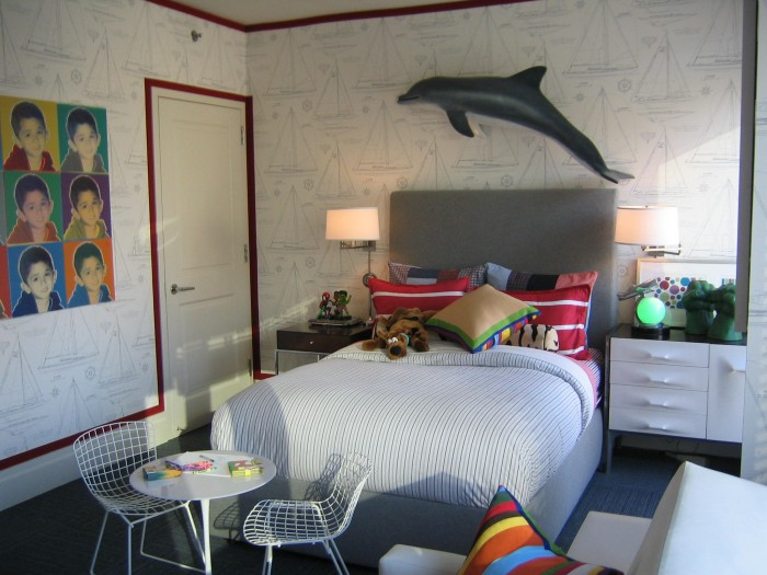 creative boys room with dolphin and popart