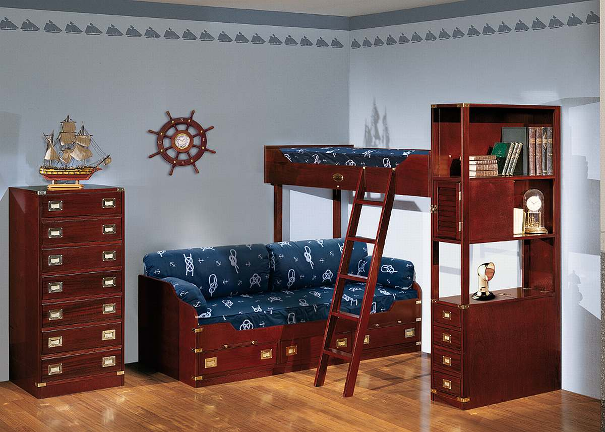 Dark wood bunk bed nautical themed boys room interior Bunk bed boys room