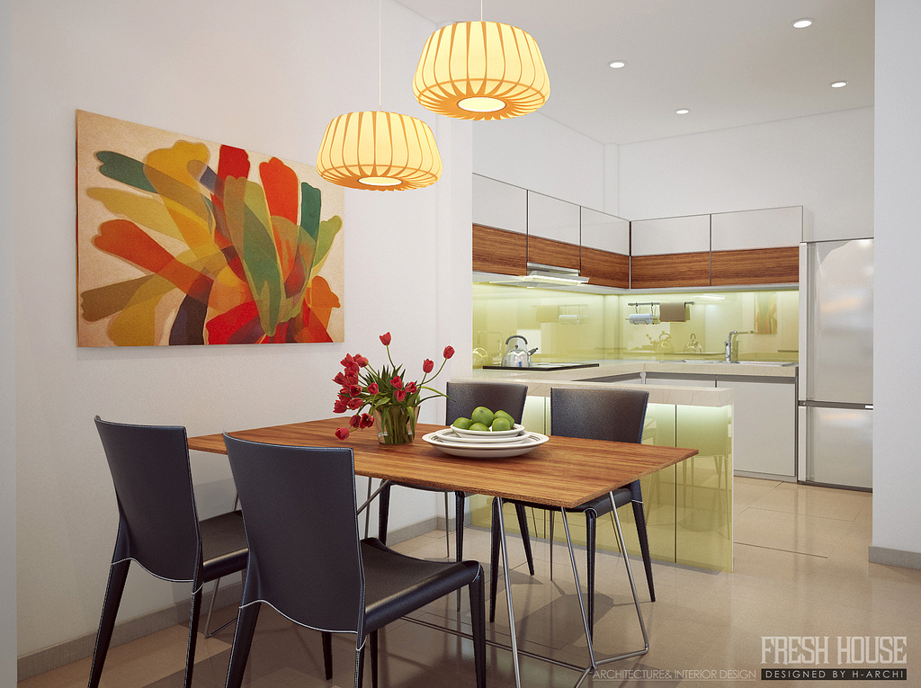 Chic contemporary spaces rendered by anh nguyen for Dining wall painting