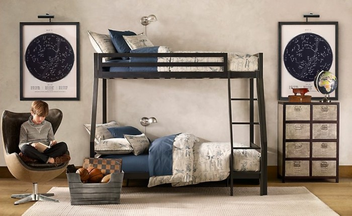 double bunk bed boys room with educational influence