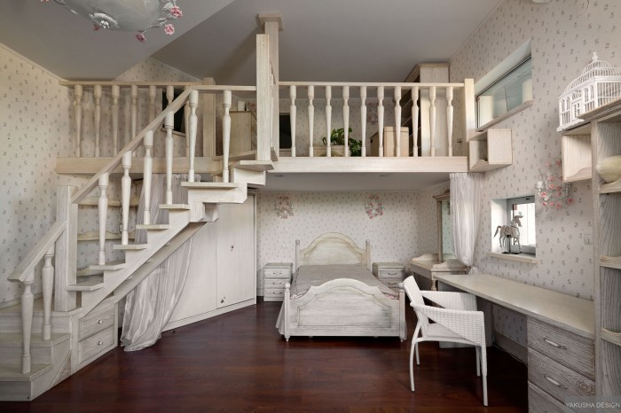 dreamy floral and white bedroom with mezzanine and homework space