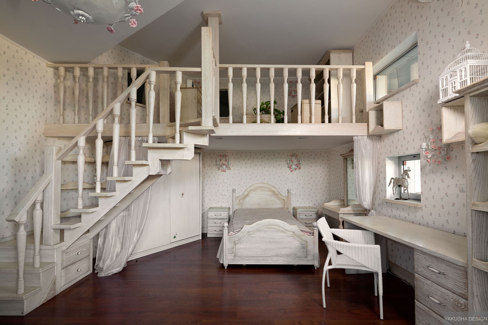 Dreamy Floral And White Bedroom With Mezzanine And Homework Space Interior Design Ideas
