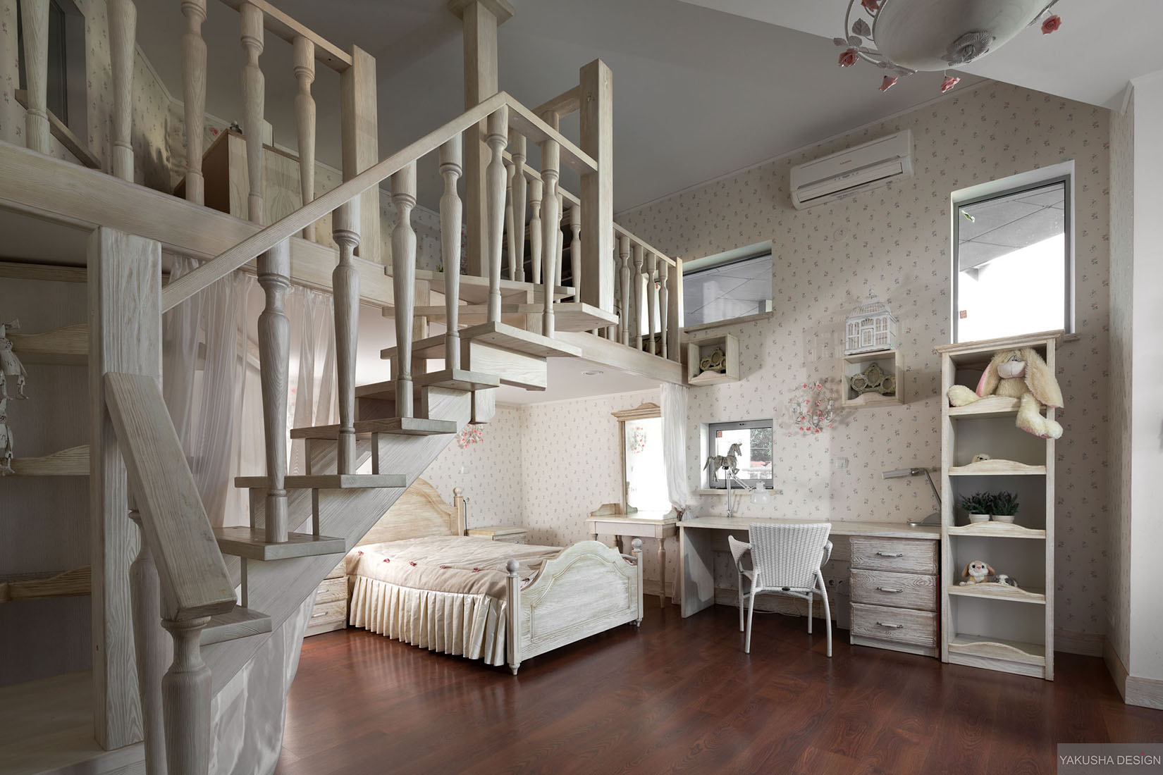 dreamy floral and white bedroom with mezzanine homework space and storage