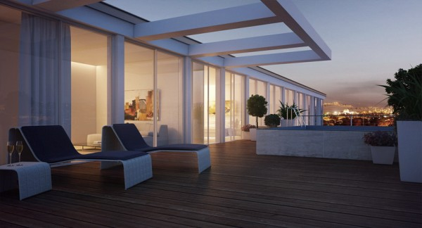 The duplex's terrace boasts amazing city views while providing a quiet peaceful lounge area.