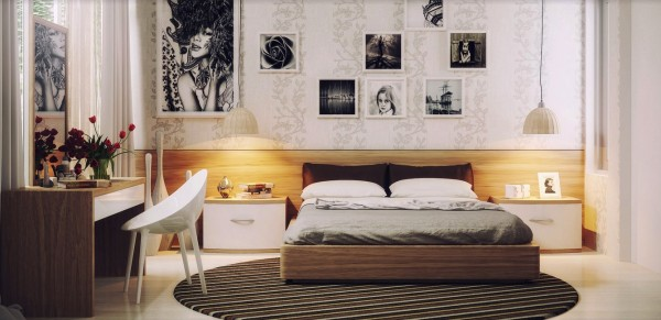 Feminine artwork and delicate modern furnishings fill this girl's bedroom.