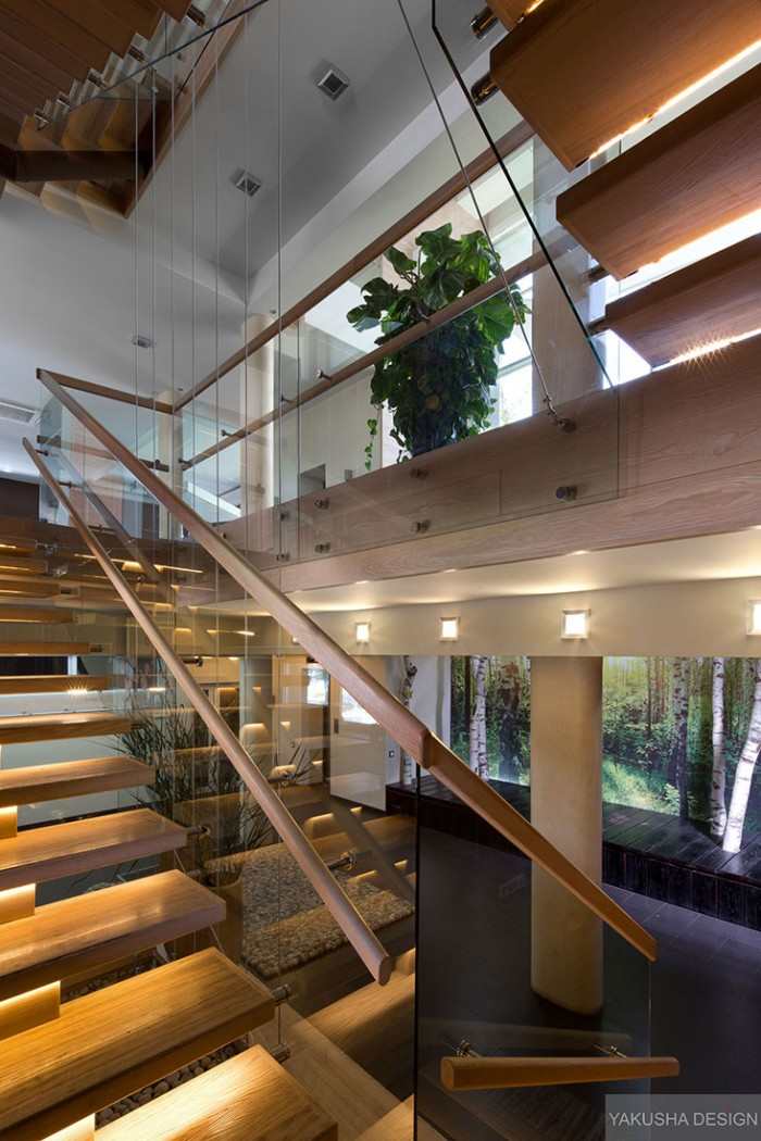floating blonde wood and glass stairwell with indoor plant