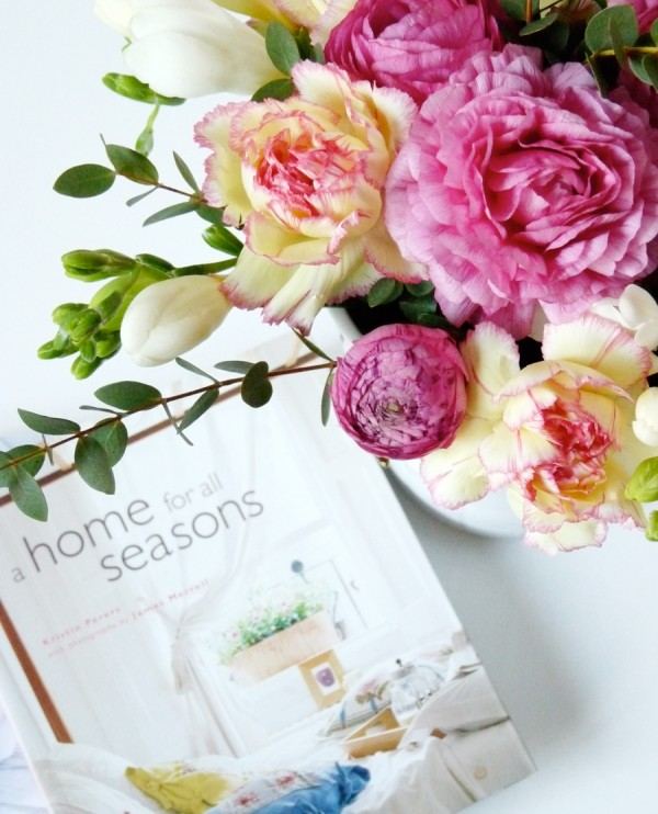 floral arrangement peonies and magazine styling
