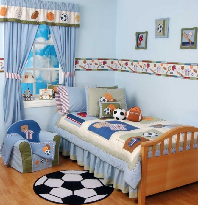 Football Themed Blonde Wood Boys Room Interior Design Ideas