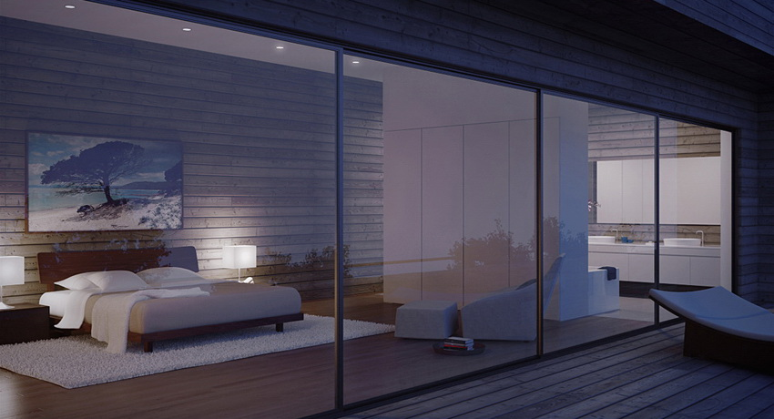 Glass Walled Modern Bedroom At Night Interior Design Ideas