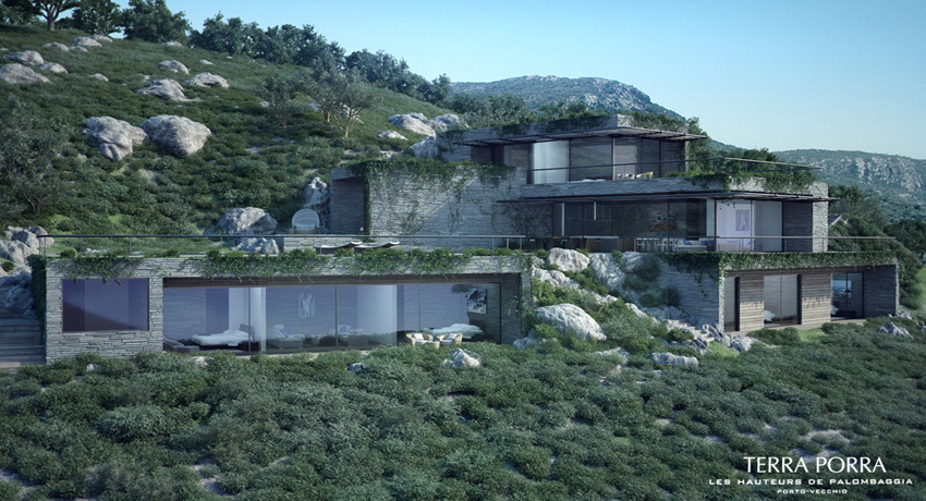 Corsican mountain view villas visualized for Building house with side views