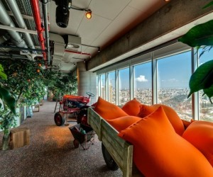 Employees seeking a little alone time and reflective solace can certainly find it in one of the wagons filled with comfy pillows set overlooking the skyline.