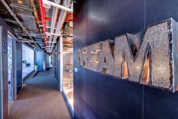 "A glitzy backlit sign ""Dream"" certainly conveys what these Google offices are all about."