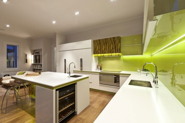 green and white modern kitchen 2