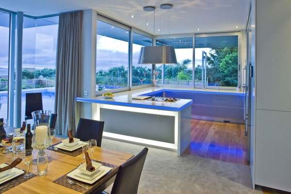 grey and blue modern kitchen
