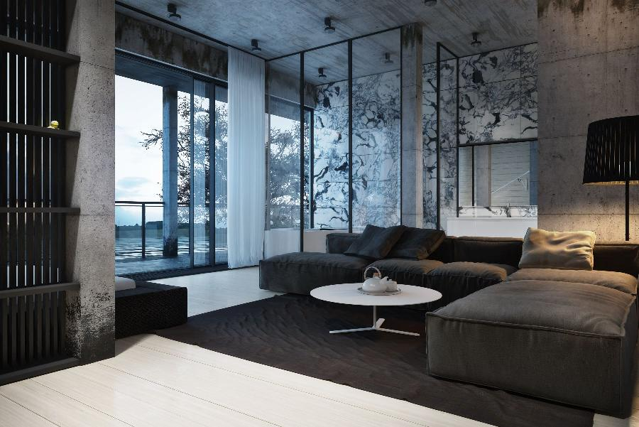 Dynamic modern designs from igor sirotov for Dark grey interior