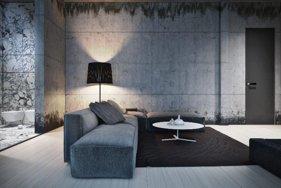 ... architecture is coupled with concrete walls for a masculine decor