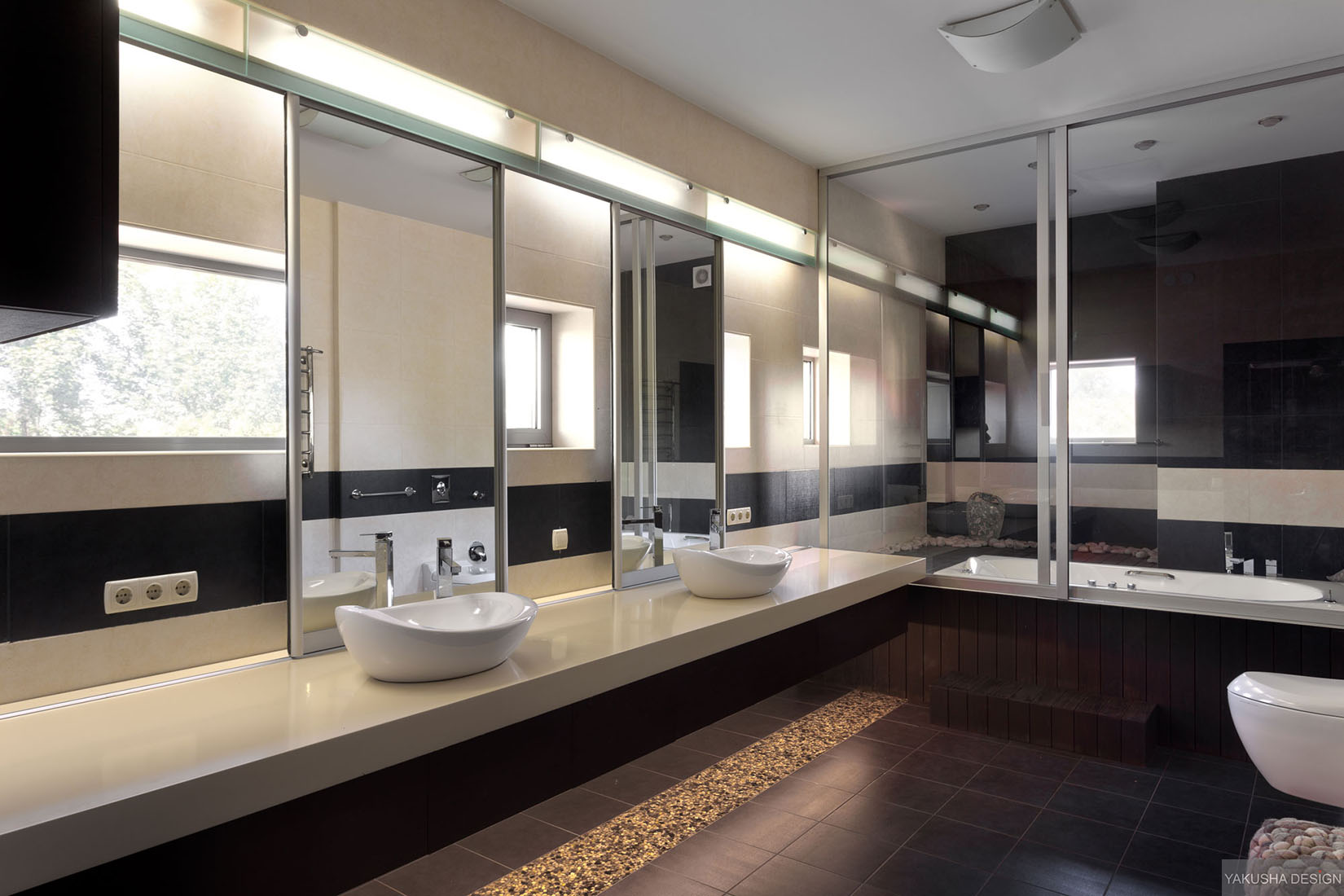 His and hers twin sinks in modern mirrored bathroom with for Big bathroom ideas