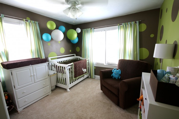 lime green and chocolate baby boys nursery