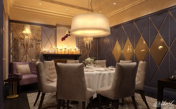 Custom wall treatments and gorgeous lightening give this dining room a touch of luxurious appeal.