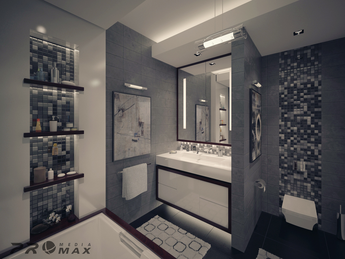Home Designs: Bathroom With Dark Concrete Tiles - Modern Apartment