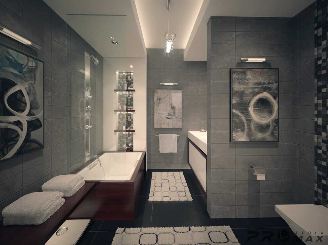 Three modern apartments a trio of stunning spaces for Modern apartment bathroom ideas