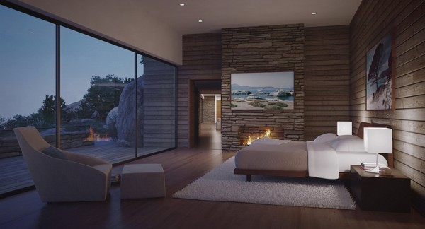 modern bedroom with view by fire light
