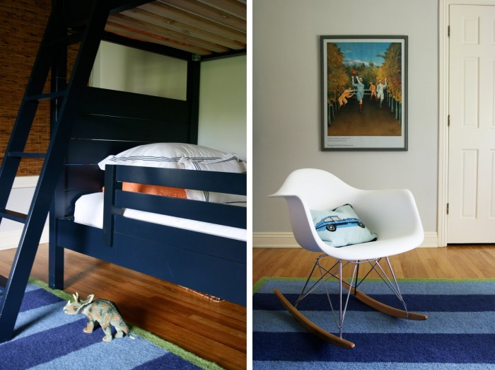 modern blue and bunk bed boys room