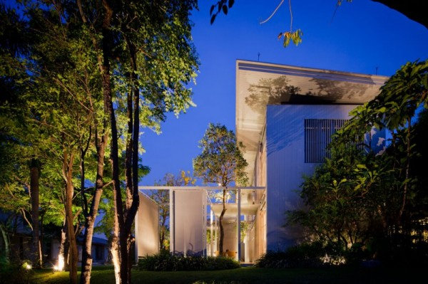 This view shows some of the exterior barriers and dividing walls used within the home's complex created for privacy.