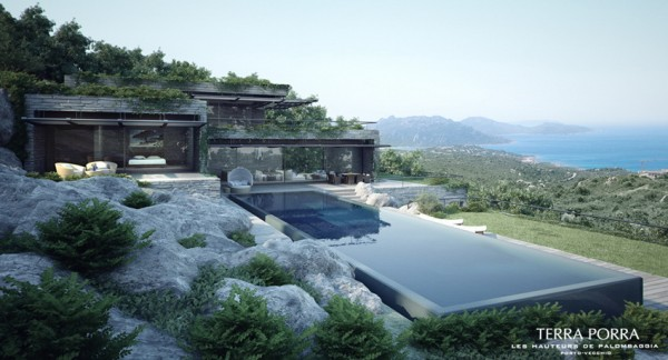modern mountain ocean view villa with pool