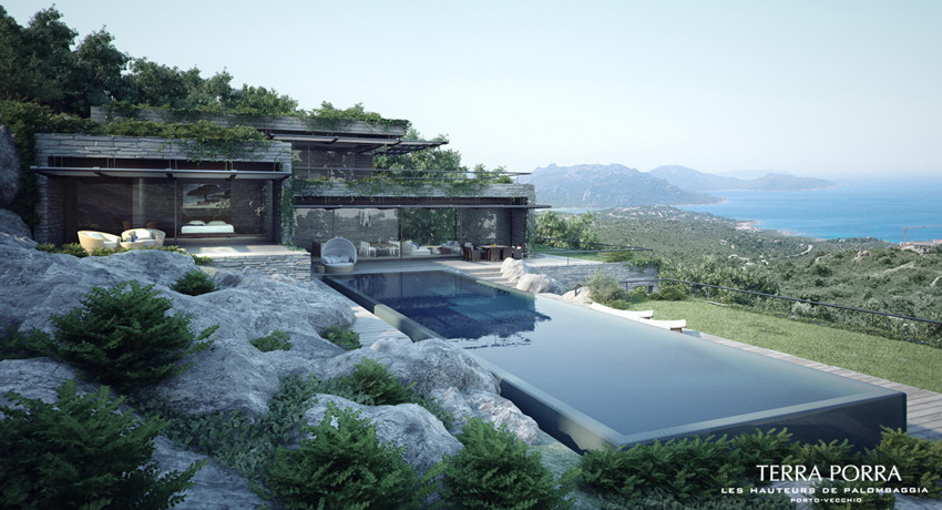 modern mountain ocean view villa with pool Interior Design Ideas
