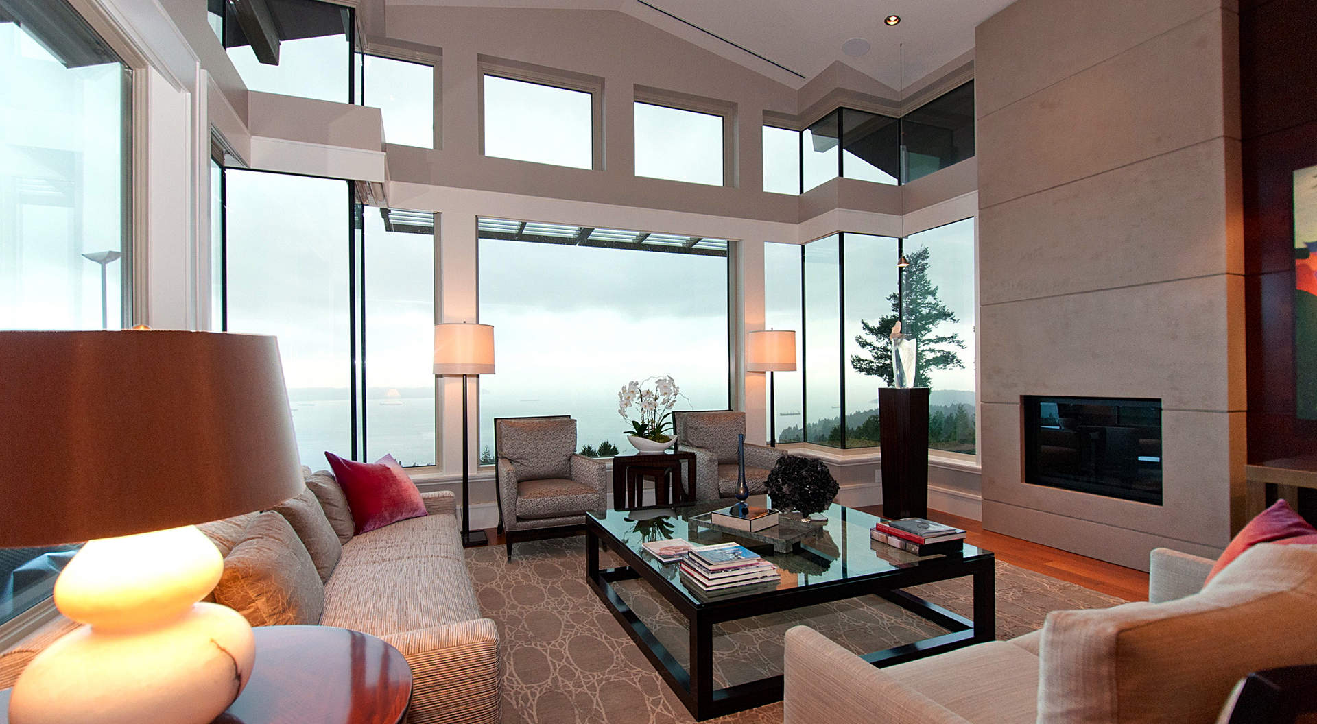 large open spaces like this living room fill the 4400 sq ft penthouse