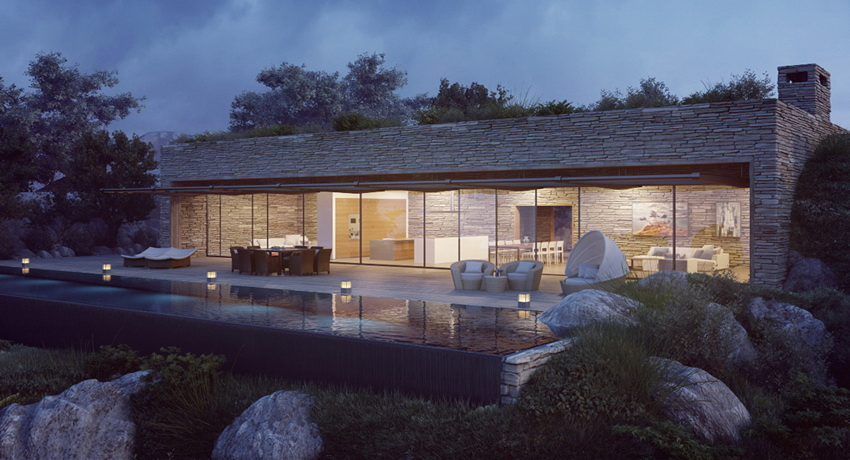 Modern Villa At Night With Pool And Outdoor Furniture